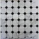 Octagon & Dot-Carrara| Nero Marquina Honed