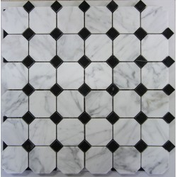 Octagon & Dot-Carrara| Nero Marquina Honed