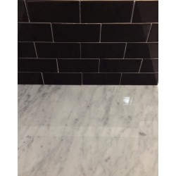 Spanish Gloss Black Ceramic Subway Tile|Non Rectified