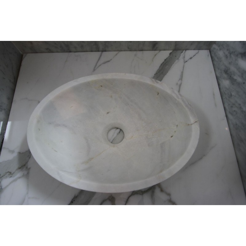Bianca Luminous Marble| Stone Basin| Oval| Honed