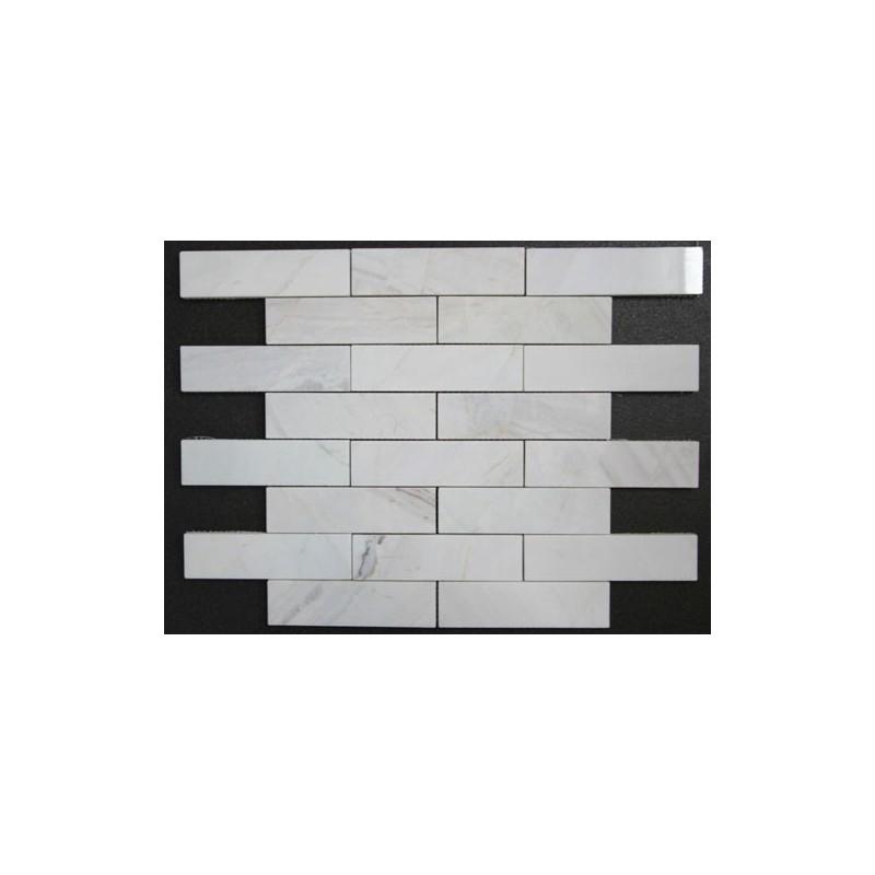 Bianca Luminous Interlocking Mosaic Limestone - Polished  150x40 Sheeted
