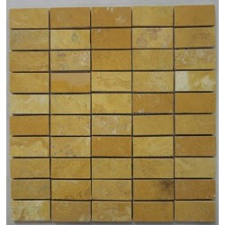 Giallo Filled Polished Travertine Mosaic 60x30