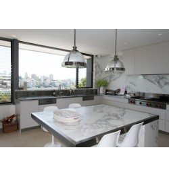 Crema Luminous Limestone Tile - Honed|Benchtop:Calacatta Marble