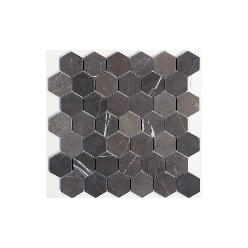 Hexagon Pietra Grey Marble Mosaics 48DIA