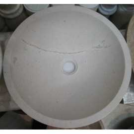 Persian Marfil Honed Round Basin Marble