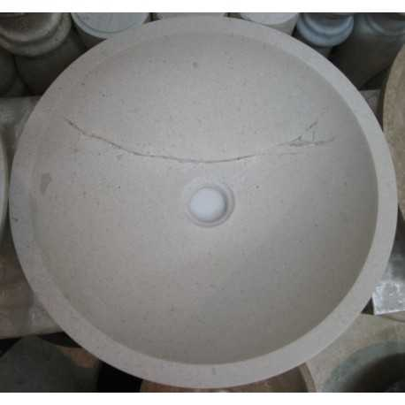 Natural Stone Persian Marfil Basins Marble - Round Basin - Polished