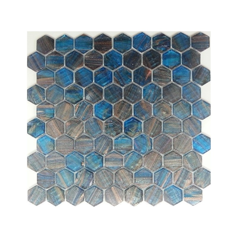 Ferrara Hexagon - Italian Glass Mosaics Pool Tiles|On Plus System