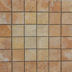 Giallo Filled Honed Travertine Mosaic 50x50