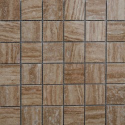 Noce Veincut Filled Polished Travertine Mosaic 50x50