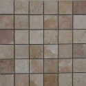 Travertine Noce Unfilled Honed Mosaic