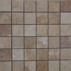Noce Unfilled Honed Travertine Mosaic 50x50