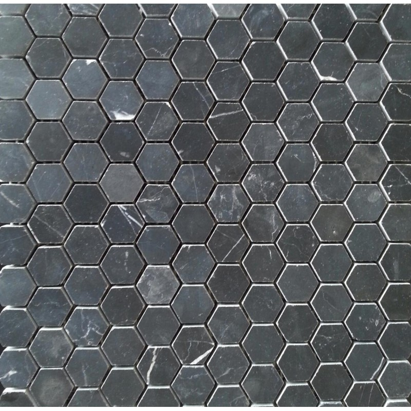 Nero Marquina Hexagon Honed Marble Mosaic 23Dia