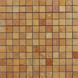 Giallo Filled Polished Travertine Mosaic 25x25