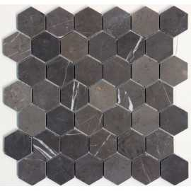 Pietra Grey Hexagon Honed Limestone Mosaic 48x48