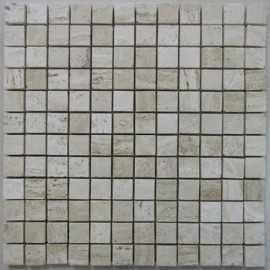 Silk Filled Polished Travertine Mosaic 23x23