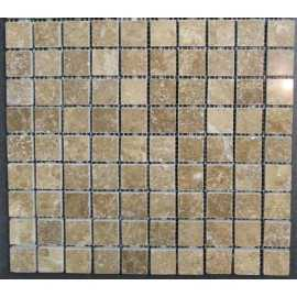 Noce Filled Polished Travertine Mosaic 30x30