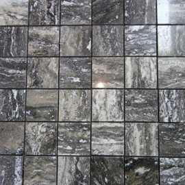 Multicolour Grey Veincut Filled Polished Travertine Mosaic 50x50