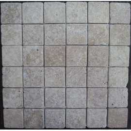 Noce Tumbled Travertine Mosaic 50x50