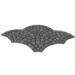 Cobblestone Diamond Black Flamed Granite Fan Shape