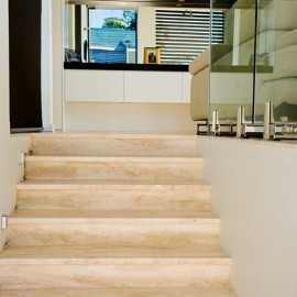 Chiaro Step Riser Filled Honed Travertine