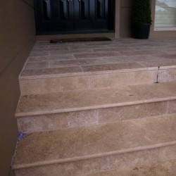 Noce Step Riser Unfilled Honed Travertine