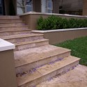 Travertine Noce Step Treads & Risers - Cross Cut - Epoxy Filled & Honed