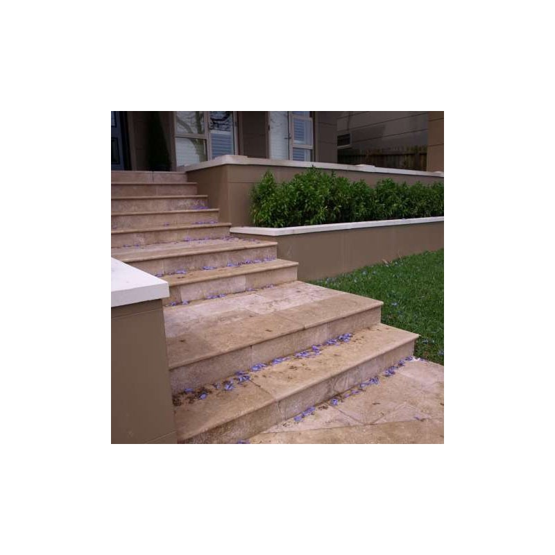 Travertine Noce Step Treads U0026 Risers   Cross Cut   Epoxy Filled U0026 Honed