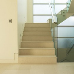 Crema Luminous Step Riser Honed Limestone