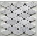 Carrara Gioia Venato Honed Long Octagon with Grey Dot Marble Mosaic