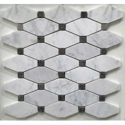 Carrara Gioia Venato Honed Long Octagon with Grey Dot Marble Mosaic