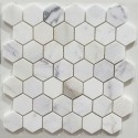 Calacatta Gold Honed Hexagon Marble Mosaic 48x48