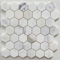 Calacatta Statuario Hexagon Honed Marble Mosaic 48x48