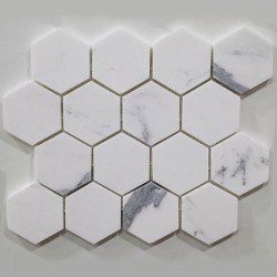Calacatta Statuario Hexagon Honed Marble Mosaic 70x70