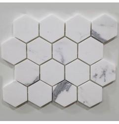 Calacatta Gold Hexagon Honed Marble Mosaic 70x70