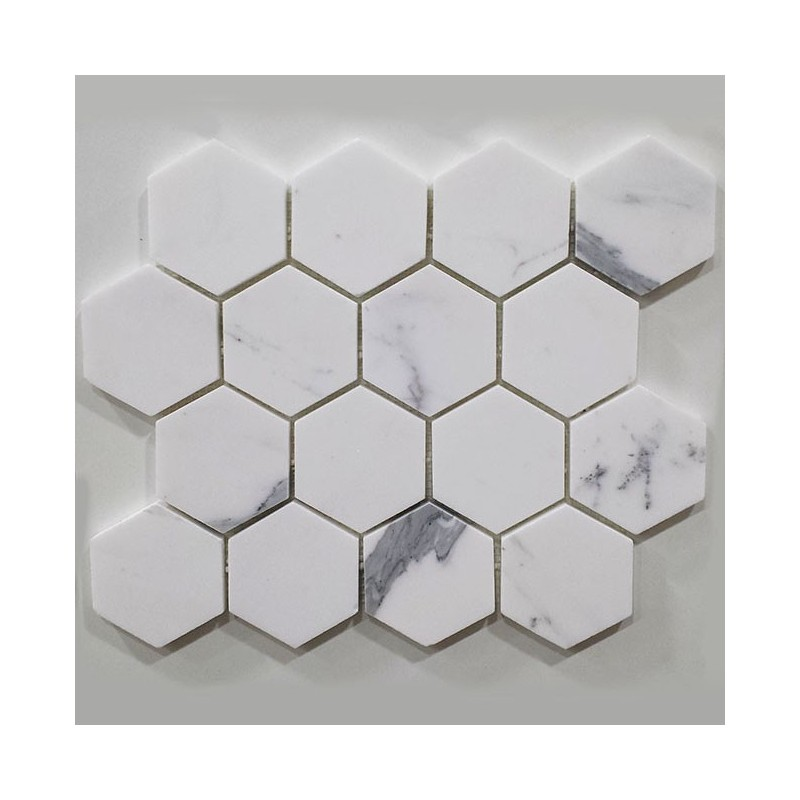 Calacatta Gold Hexagon Honed Marble Mosaic 70x70
