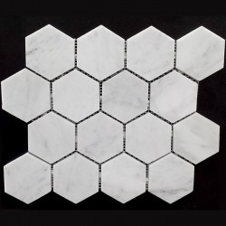 Carrara Hexagon Honed Marble Mosaic 70x70