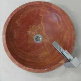 Rosso Honed Round Basin Travertine