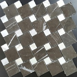Pietra Grey and Bianca Luminous Polished Marble Mosaic