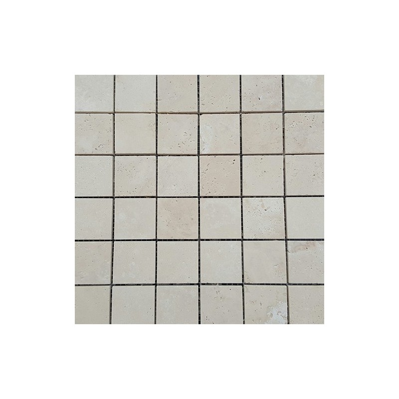 Chiaro Unfilled Honed Travertine Mosaic 50x50
