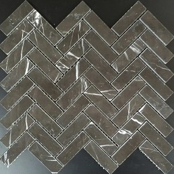 Pietra Grey Herringbone Polished Limestone Mosaic