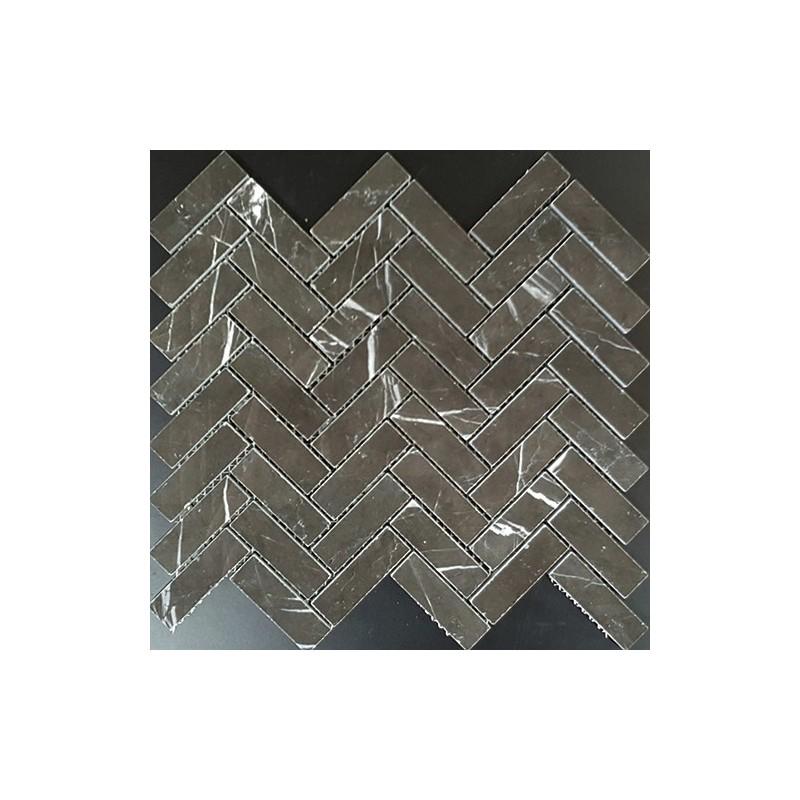 Pietra Grey Herringbone Polished Limestone Mosaic