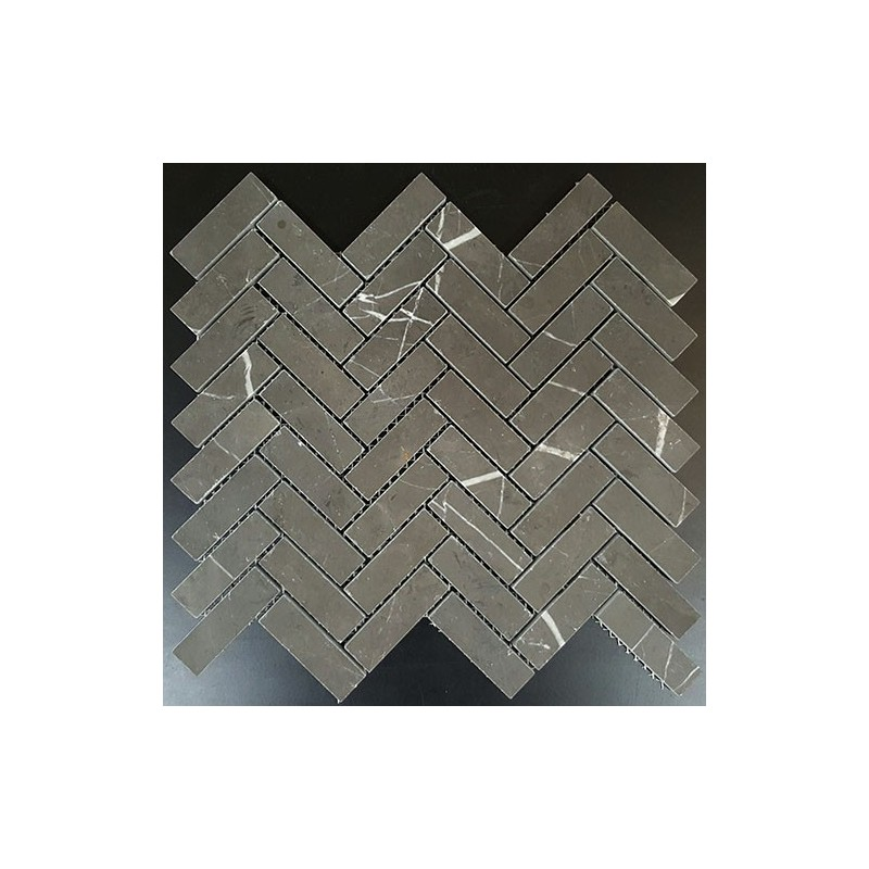 Pietra Grey Herringbone Honed Limestone Mosaic