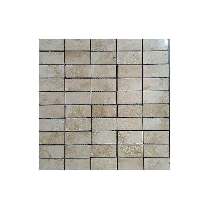 Classico Filled Polished Mosaic Travertine 60x30