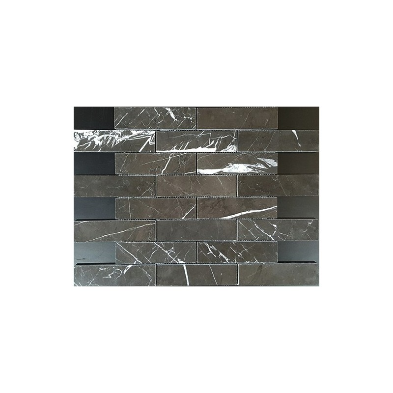 Pietra Grey Interlocking Polished Limestone Mosaic 150x40