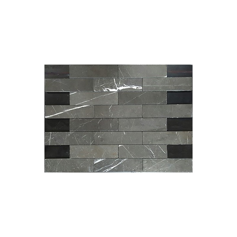 Pietra Grey Interlocking Honed Limestone Mosaic 150x40