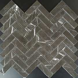 Pietra Grey Herringbone Honed Limestone Mosaic 64x20