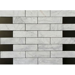 Persian White Interlocking Polished Marble Mosaic 150x40
