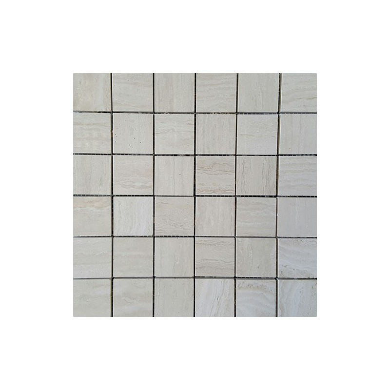 Chiaro Veincut Filled Polished Travertine Mosaic 50x50