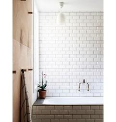 White Gloss Bevelled Subway Tile Ceramic 75x150