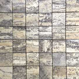 Multicolour Grey Filled Polished Travertine Mosaic 50x50
